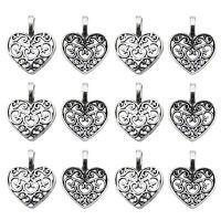 100 pcs Antiqued Silver Zinc Alloy Hollow Love Heart Charms Necklace Pendants