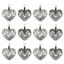 100 pcs Antiqued Silver Zinc Alloy Hollow Love Heart Charms Necklace Pendants