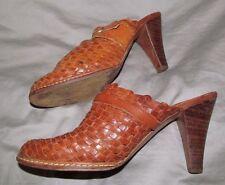 Vintage 1970s - 80s Brown weave leather high stack heel clogs HIPPOTAMUS - 6.5 B