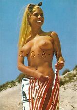Original 1960s German Nude Pinup PC- Well Endowed Blond Opens Towel- At Beach