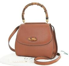 Auth GUCCI Brown Leather Bamboo Handle Tote 2-Way Shoulder Hand Bag Purse #27313