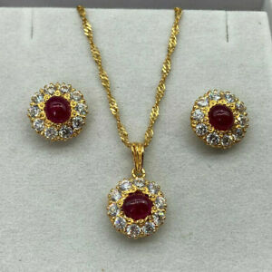 22ct Gold Ruby & Cubic Zirconia Earrings & Necklace Set.  Goldmine Jewellers.