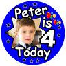 niño personalizado cumpleaños Insignia, 4 Hoy/cualquier edad, NOMBRE, foto, Y