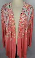 CJ Banks Womens 3X Pink Floral Open Front 3/4 Sleeve Cover Up Cardigan Sweater