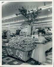 1955 Lady in Evening Gown Serves OJ in Cleveland OH Grocery Store Press Photo