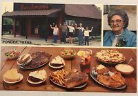 Ponder Texas Ranchmans Cafe Steakhouse Restaurant Postcard TX