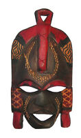 Unique Small Red Hand Carved African Mask in Jacaranda Wood