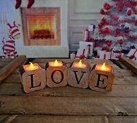 Vintage Christmas Yule Log LOVE LED Tea Light Candle Holder Table Centerpiece