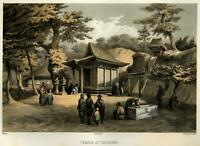 Temple Complex Worshippers Yokohama Japan 1856 Perry Expedition litho view print