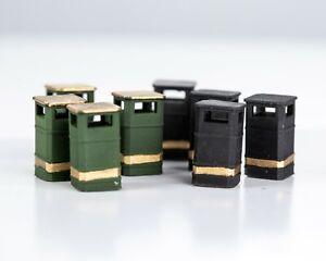 OO/4mm/ 1:76 Scale Street Style Litter Bins (x10) (unpainted)