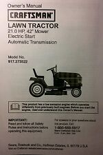 Sears Craftsman LT1000 Lawn Riding Tractor & Mower Owner & Parts Manual 21.0 /42