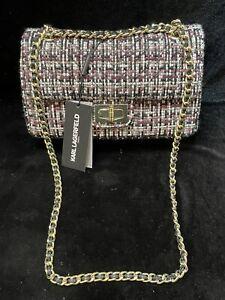 Karl Lagerfeld Paris Agyness Large Woven Shoulder Bag Pink/Blk/White Woven $228