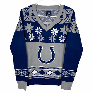 Indianapolis Colts NFL Women's Christmas Sweater Large Blue Gray NFL Apparel