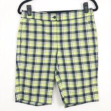 Greg Norman Womens Golf Shorts Bermuda Size 2 Plaid Green Yellow Black New