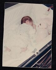 Vintage Photograph Adorable Baby Sleeping in Carriage With Stuffed Bunny Rabbit