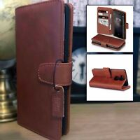 Retail Boxed Real Leather Wallet Book Case TAN For Sony Xperia XA2