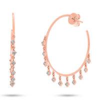 0.88 CT 14K Rose Gold Natural Round Cut Diamond Drop Shaker Dangle Hoop Earrings