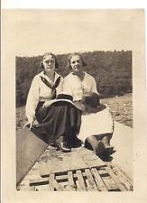 Edwardian Nautical Sailor Dress Woman Sun Hats In Boat Vintage 1910s Photo