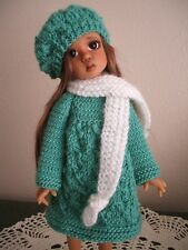 Handmade Green Knit Dress, Hat & Scarf Yo-sd Modeled By Kaye Wiggs Tillie