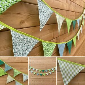 Green Bunting💚Floral Stripe Polka Shabby Chic Traditional Vintage Fabric 3m💚