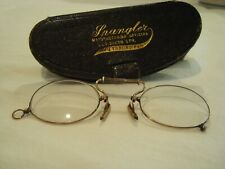 Antique Pinch Nose Gold Plated Pince Nez Glasses W/Case