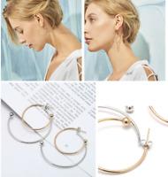 Silver Gold Geometry Circle Metal Drop Earrings Ear Studs Women Fashion Jewelry
