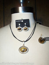 Chico's Teri Tiger Eye Pendant Neckace Post Earrings Stretch Ring Matching Set