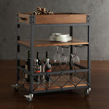 Rolling Serving Cart Rustic Mobile Bar Wine Snacks Drinks Carts Tray Shelf Table