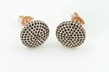 Rose gold Disc Shaped Earrings W. Pave Black CZ, 925 Sterling Silver Posts