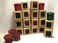 23 Beaded Votive Candle Holders With Lids & Glass Insert 19 Red 4 Green