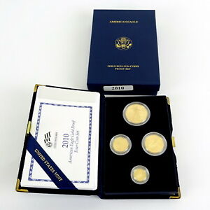 2010 American Gold Proof Eagle 4 Coin Proof Set AGE with Orig US Mint Box & COA