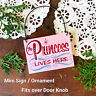 DecoWords Ornament Mini Wood Sign * PRINCESS LIVES HERE Cubicle Door Knob Gift