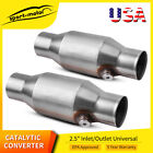 """Two Universal Spun 2.5"""" High Flow ECO II Catalytic Converter 425250 EPA Approved"""