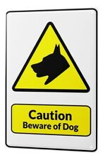 Tin Sign Warning sign Beware of the dog symbol in black and yellow triangle comi