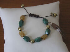 Gold Stone Pulley Bracelet Lucky Brand Green and