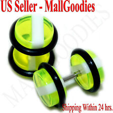 1139 Fake Cheaters Faux Illusion Ear Plugs 16G Green White Stripes 0G