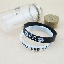 One Pair EXO-K FROM PLANET KPOP Supporter Wristband Bracelet Black+White MW