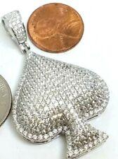 0 925 sterling silver ACE Spade poker gamble casino pendant simulateddiamondluck