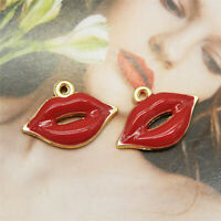 30pcs Red/&Gold Enamel Kiss Lips Charms Jewelry Making Findings Accessories