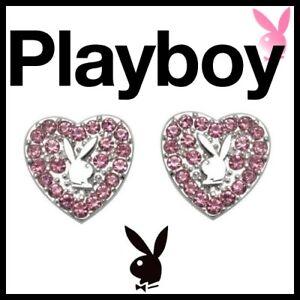 Playboy Earrings Pink Heart Bunny Studs CZ xoxo NWT y2k NIB HTF Mother's Day MOM