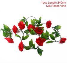 2.4m Long Silk Rose Flower Ivy Vine Leaf Garland Wedding Party Home Decorations