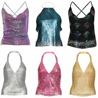 WOMENS LADIES CHAINMAIL STUD TIE BACK SEXY PARTY EVENING CLUBWEAR DRESS TOP 6-12