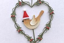 Gisela Graham Natale in legno Robin in latta CUORE Holly Corona Decorazione