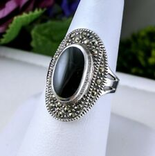 Vintage HAN 925 Sterling Silver Marcasite Black Onyx Elongated Oval Ring Sz 7