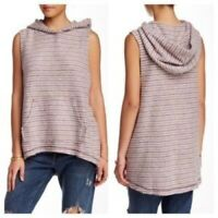 Free People Women's Striped Hooded Sleeveless High-Low Sweater Vest size M