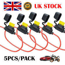 5Pcs In Line Standard Blade Fuse Holder Splash Proof 12V 30A Car Automotive UK