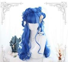 Cosplay Harajuku Style Lolita Wig Women Long Wavy Royal Blue Bangs Full Hair Wig