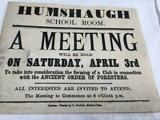 Antique 1886 Poster Ancient Order Foresters Hexham Northumberland