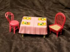 Fisher Price Loving Family Dollhouse Dinner Table 2 Chairs Plates Reverse Cake