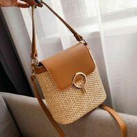 Women Handbag Casual Rattan Crossbody Bag Wicker Woven Straw Shoulder Beach Bags